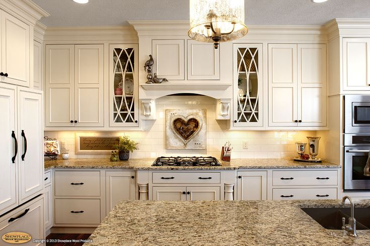 Elegance And Impressive Kitchen Interiors With Showplace Cabinets: Beutiful Idea Of Kitchen Design With Showplace Cabinets Soft Cream And Antique Pendant Lighting Also Granite Countertop