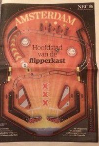Cover van de NRC editie #Amsterdam! Amsterdam hoofdstad van de flipperkast. Een mooi artikel met Dieter van Es en Jim Jansen over #flipperen in de hoofdstad. #Pinball