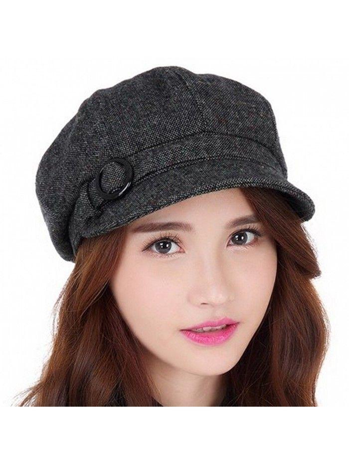 e2a212cf06163a Hats & Caps, Women's Hats & Caps, Newsboy Caps, Womens newsboy Cabbie Hat  Vintage Wool Beret Cap - Black-Grey - C3185YOG0IZ #caps #hats #styles  #outfits ...
