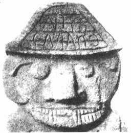 Runes on the 'coiffure' of a statue from San Augustin, Columbia