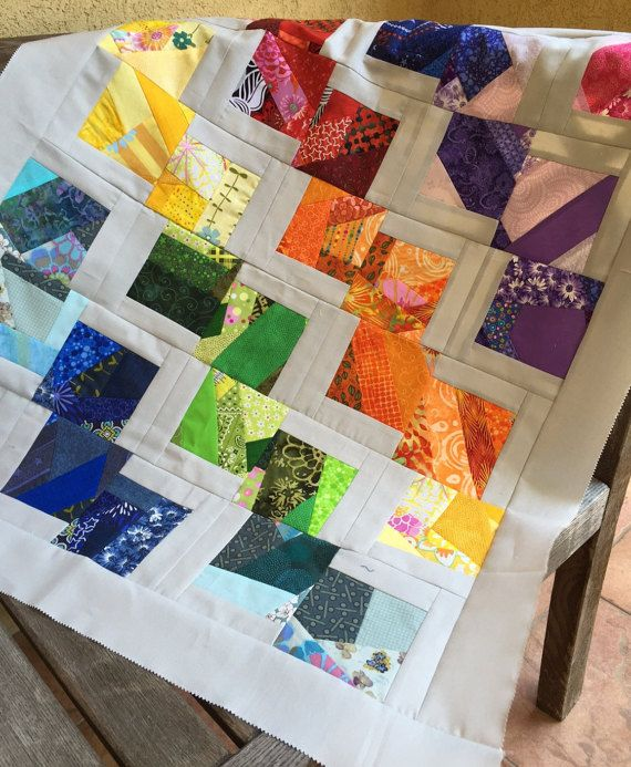 Rainbow Crazy Blocks Quilt Top Only Tumbling Crazy