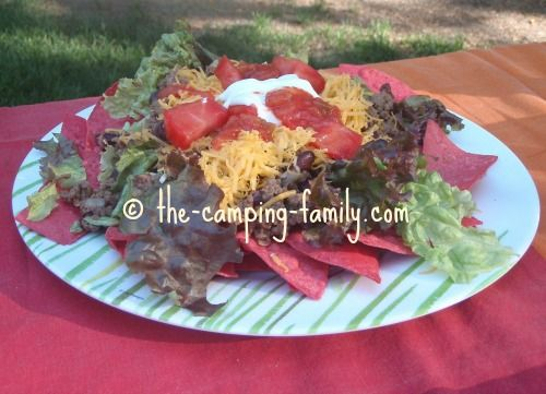 This Taco Salad is one of my favorite camping meals. Most of the prep work is done at home, so at camp you can just relax and enjoy!