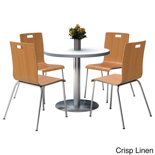Round 42-inch Pedestal Table with Round Silver Base with 4 Bentwood Cafe Chairs