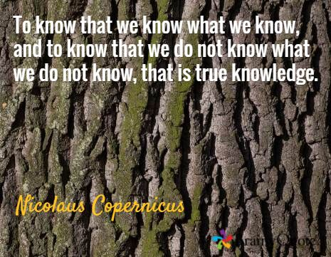 To know that we know what we know, and to know that we do not know what we do not know, that is true knowledge. / Nicolaus Copernicus