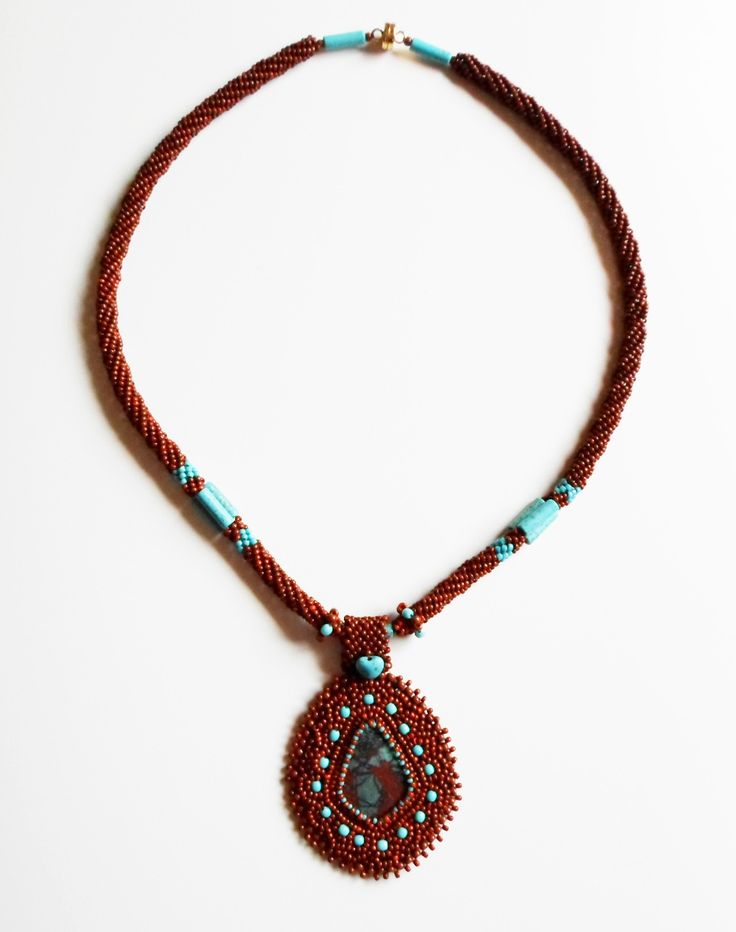 3045 This piece has a lovely, Sonoran Sunset cabochon as the focal. $168 by Darlene Pfahl