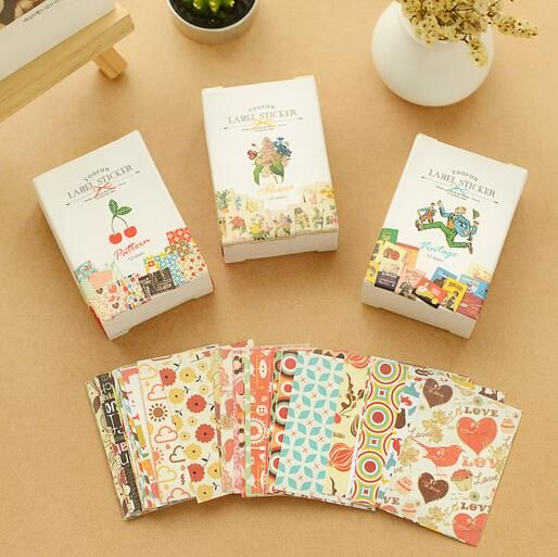 52 pcs/bag  DIY Mini Cute  Flower Paper Craft Sticker Vintage Retro Paper for Scrapbooking Home Decoration Free shipping 437