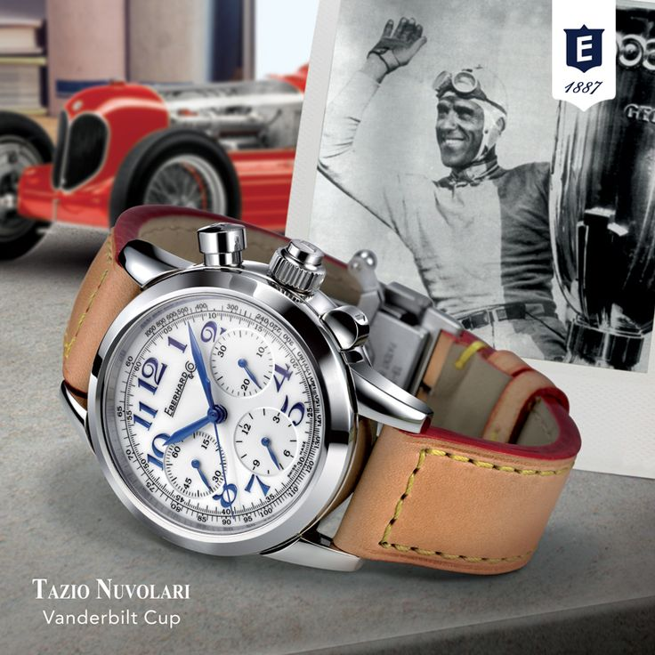 """The TAZIO NUVOLARI VANDERBILT CUP chronograph is  dedicated to one of the most exciting and renowned races won by Tazio Nuvolari :  """"Vanderbilt Cup"""", Long Island, 1936.#tazionuvolarivanderbiltcup #tazionuvolari #eberhard_co #eberhardwatches #chronograph #vintagecars #vintageraces #retromobile2018"""