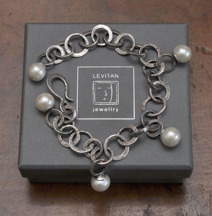 Купить Браслет Белый жемчуг - серебряный, серебро 925, серебро 925 пробы, серебро