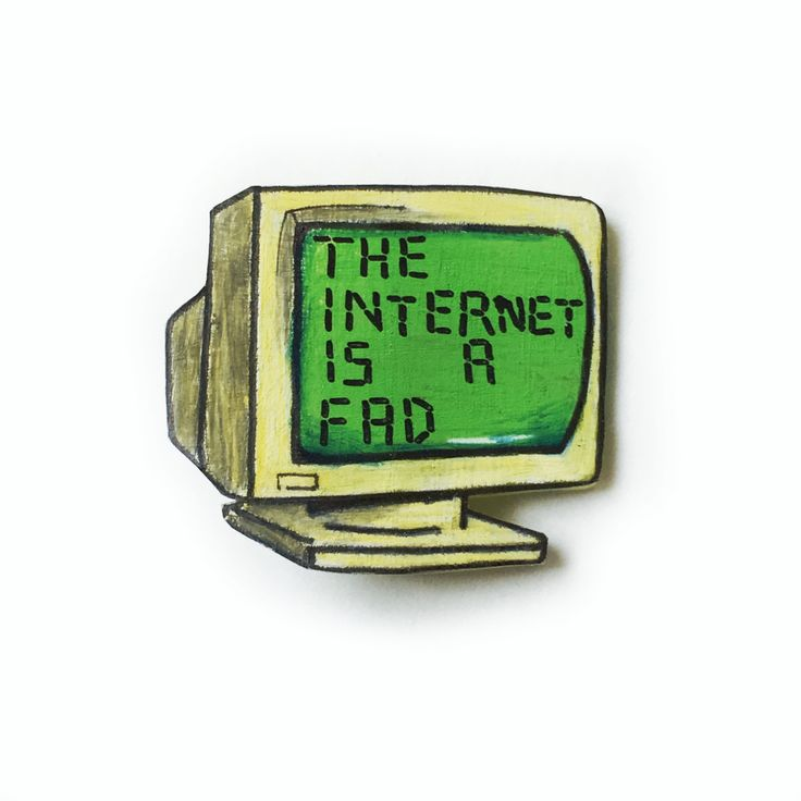 "Quirky Lapel Pin ""The Internet Is A Fad"" oldschool computer geeky tech pins 90s grunge brooch collectible by Ectogasm on Etsy"