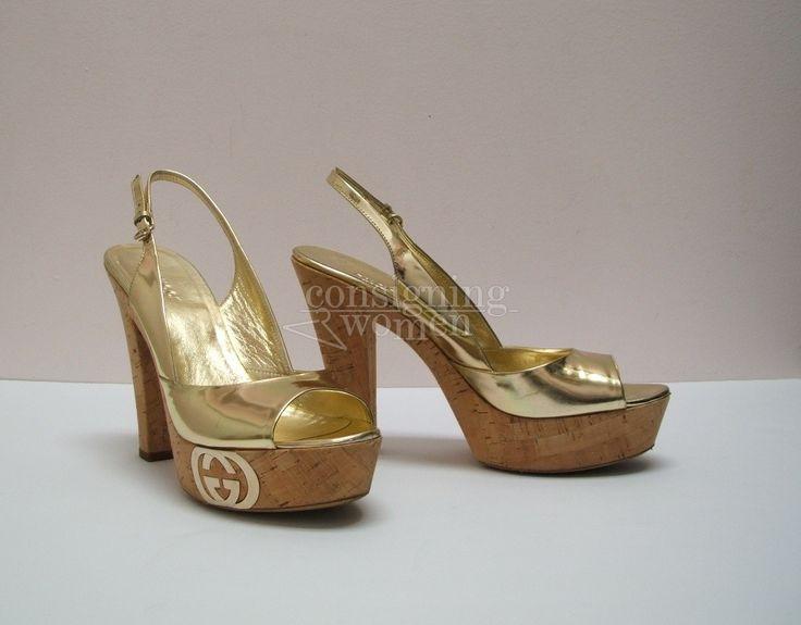 Gucci gold patent leather Grease slingback sandal, metal logo plate & cork platform, size 8. #Gucci #sandals SOLD