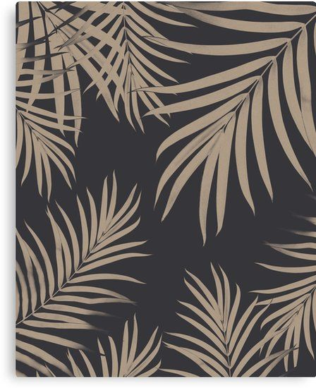 Palm Leaves Pattern Sepia Vibes 2 Tropical Decor Art Canvas