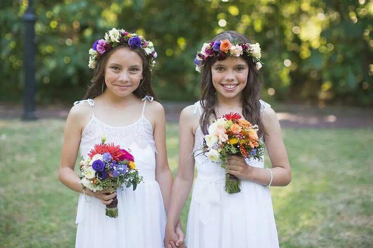 Gorgeous wee flower girls. Flowers by febella flowers