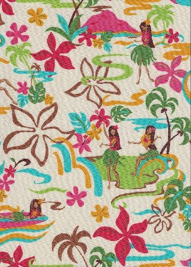 30olelo Abstract Tropical Hawaiian hula girl & plumeria flowers, cotton apparel fabric.