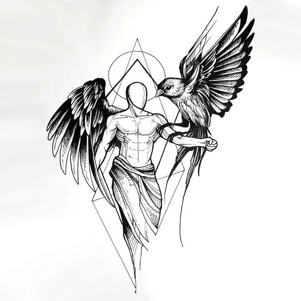 An amazing tattoo sketch of an angel with a raven sitting on his hand. Style: Sketch. Color: Black. Tags: Best, Amazing