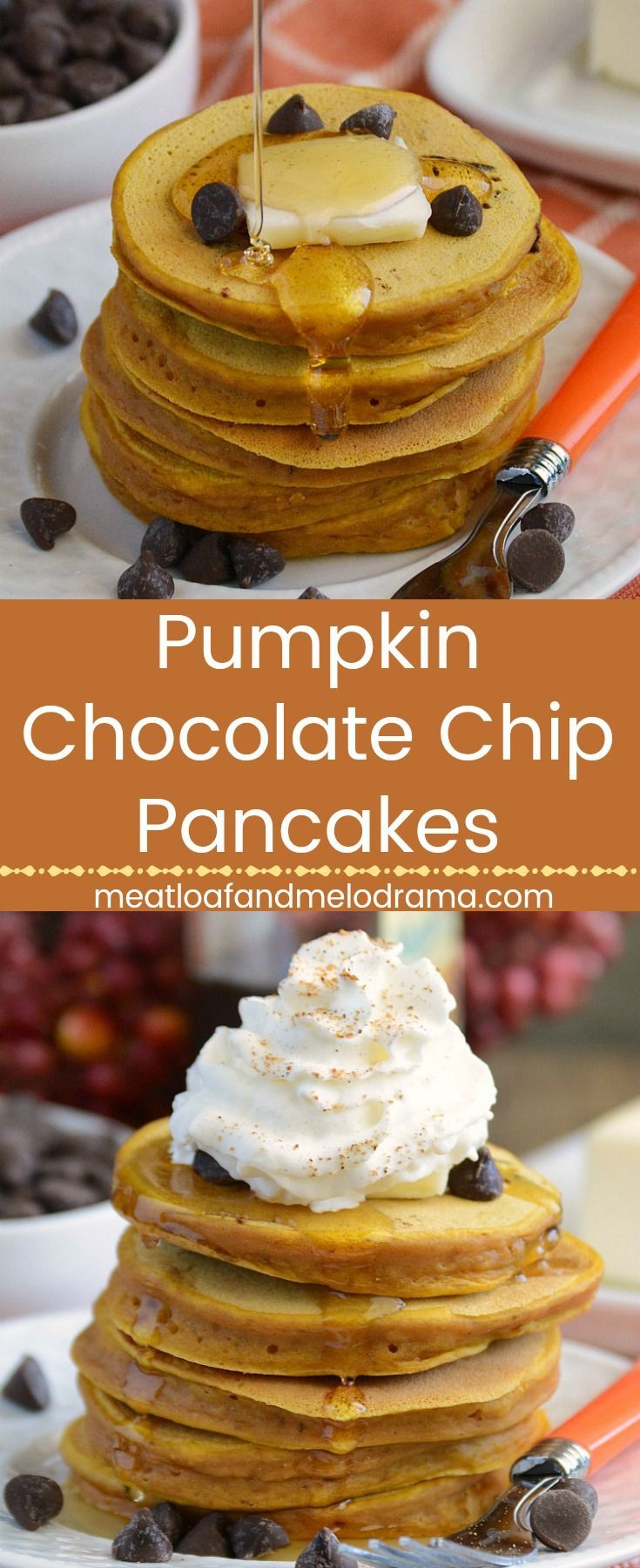 Pumpkin Chocolate Chip Pancakes -  Thick, fluffy pancakes made with canned pumpkin puree and chocolate chips. An easy fall breakfast or brunch and freezer friendly too! Make them ahead of time on the weekend and reheat during the week. Meatloaf and Melodrama