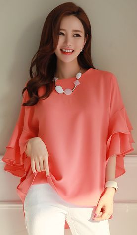 StyleOnme_Ruffle Dolman Sleeve Loose Fit Blouse #orange #elegant #feminine #ruffle #blouse #koreanfashion #springtrend #kstyle #kfashion #dailylook