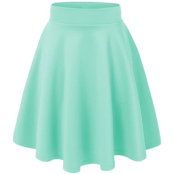 MBJ Womens Basic Versatile Stretchy Flared Skater Skirt ($15) ❤ liked on Polyvore featuring skirts, bottoms, saias, faldas, stretch skirt, green skirt, green circle skirt, green skater skirt and flare skirt