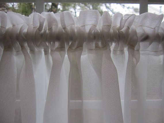 Vintage sheer curtain off white sheer curtain 70 by thecottageway 9