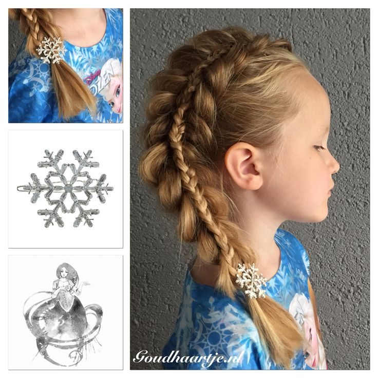 A stacked pull through braid with beautiful ice crystal hairclip from Goudhaartje.nl I love how cool she looks! #stackedbraid #pullthroughbraid #braid #icecrystal #frozen #elsa #hairstyle #hairclip #hairaccessories #vlecht #ijskristal #haarstijl #haaraccessoires #goudhaartje