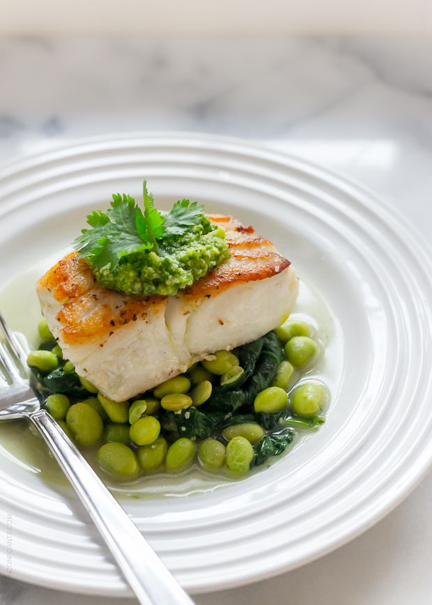 Pan-Roasted Halibut with Cilantro Edamame Pesto | Cilantro ...