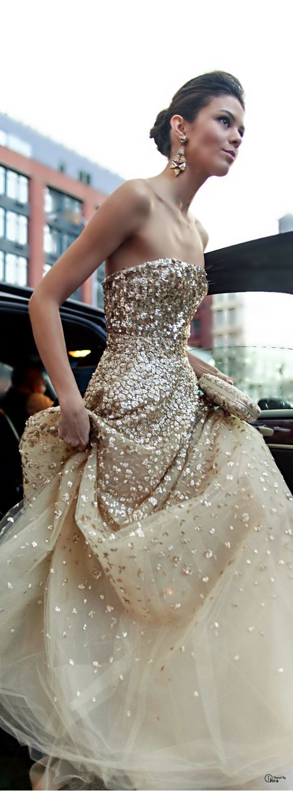 Sparkle: stepping out of the car in this sparkle gown - wow!