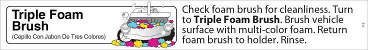 "ND112 Decal Strip for ND120B 24"" x 40"" Screen Printed Carwash Bay Menu Sign - Triple Foam Brush - White"