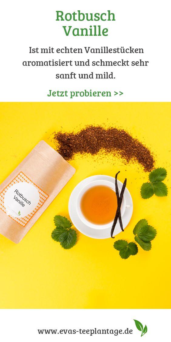Rotbusch Vanille ist mit echten Vanillestücken aromatisiert und schmeckt sehr sanft und mild.