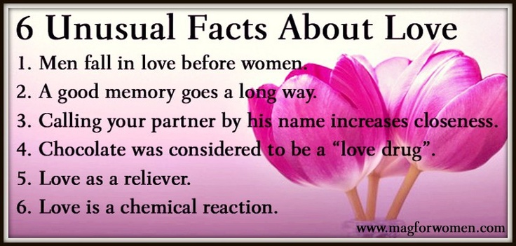Read in detail: 6 Unusual Facts About Love http://www.magforwomen ...