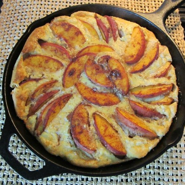 """Baked Pancake with Peaches   """"A delicious way to add fruit into breakfast!"""" #recipe #entertaining #holidays #mardigras"""