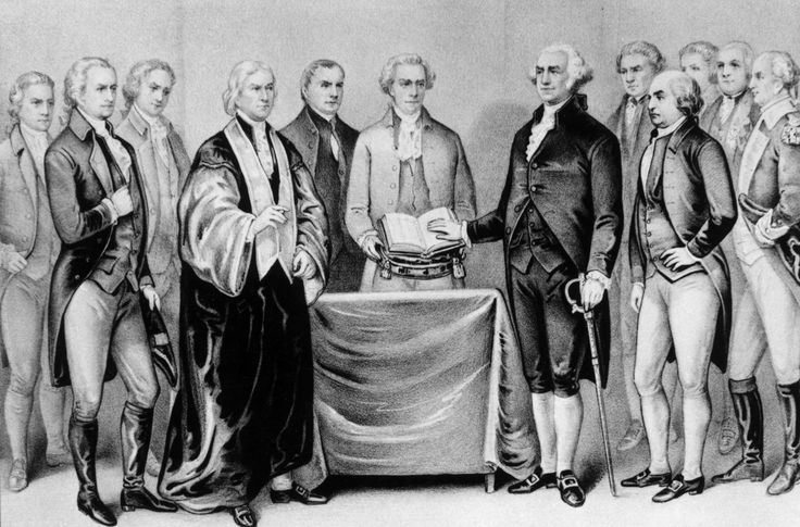1788:  The inauguration of George Washington as the first President of the United States, also present are (from left) Alexander Hamilton, Robert R Livingston, Roger Sherman, Mr Otis, Vice President John Adams, Baron Von Steuben and General Henry Knox.  Original Artwork: Printed by Currier