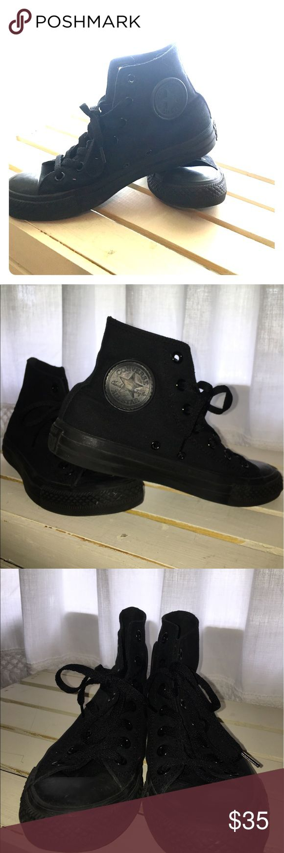 Black high top converse Gently used all black high top converse, no damage or marks. Converse Shoes Sneakers
