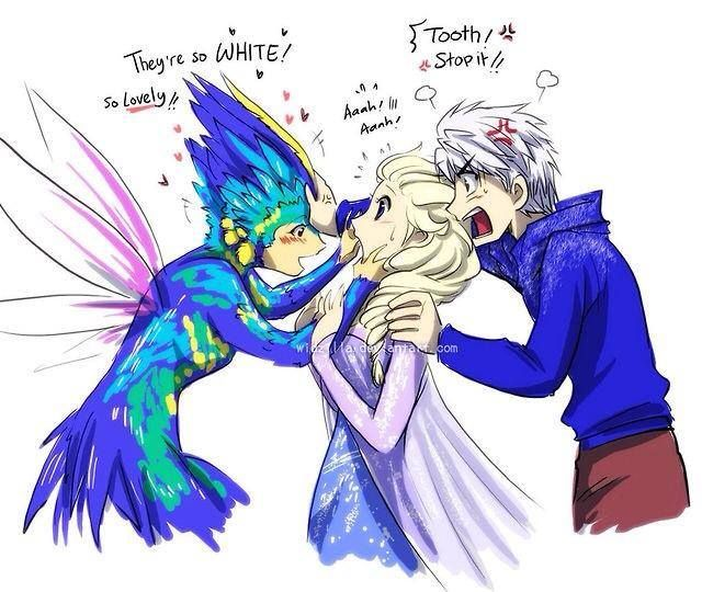 Tooth ships Jack and Elsa just like the trolls ship Kristoff and Anna.