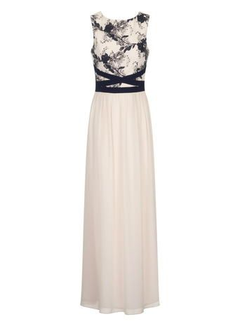 Little Mistress Nude/Navy Embroidered Maxi