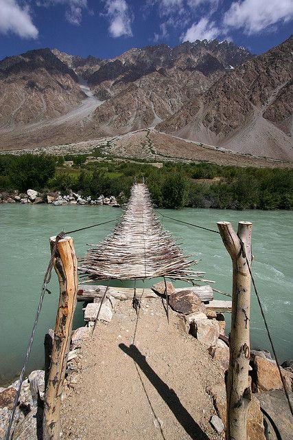 Suspended bridge in Pamir Mountains, Tajikistan