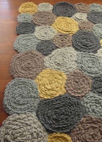 vivaterra handcrocheted wool rug - circle patchwork - grey, mustard, cream, and taupe                                                                                                                                                                                 More