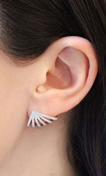 When your earrings hug all the right curves. Can't get enough of these! #danarebecca #diamonds