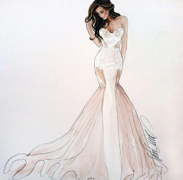 Картинки девушка в свадебном платье нарисовать