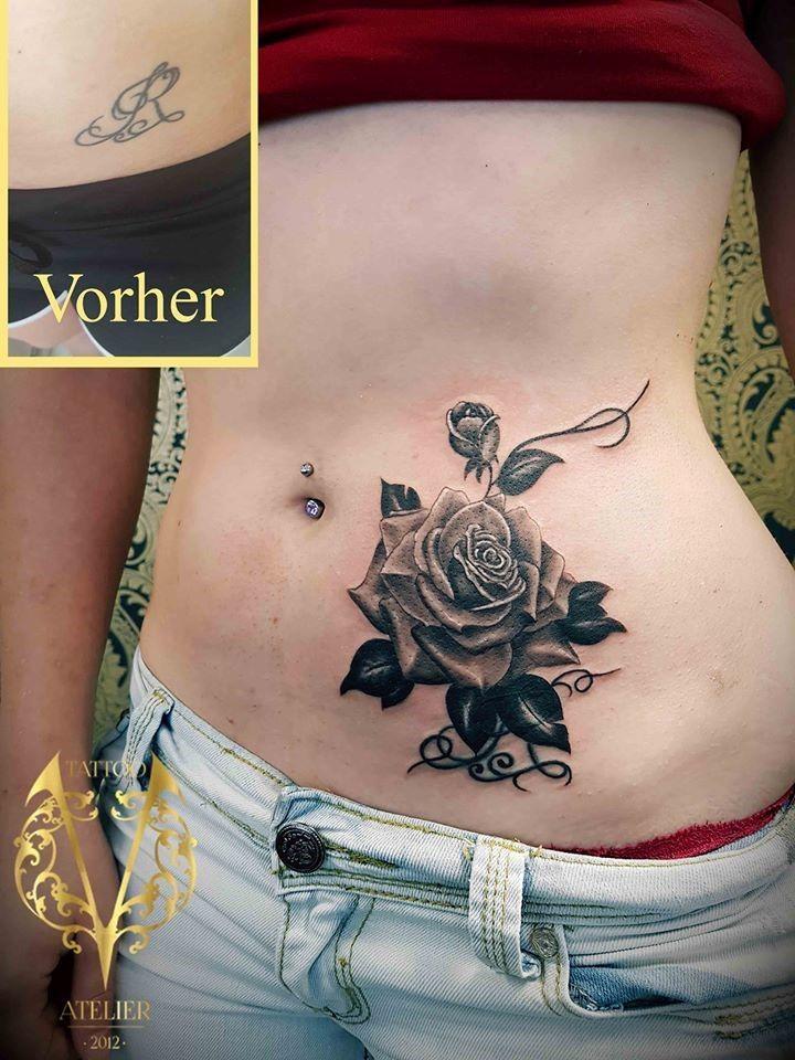 Tattoo V   Cover-up tattoo, Tattoo bauch, Schwarze und