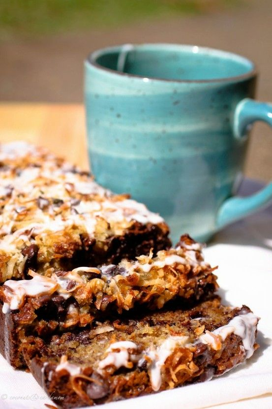 Coconut Chocolate Chip Banana Bread with Glaze