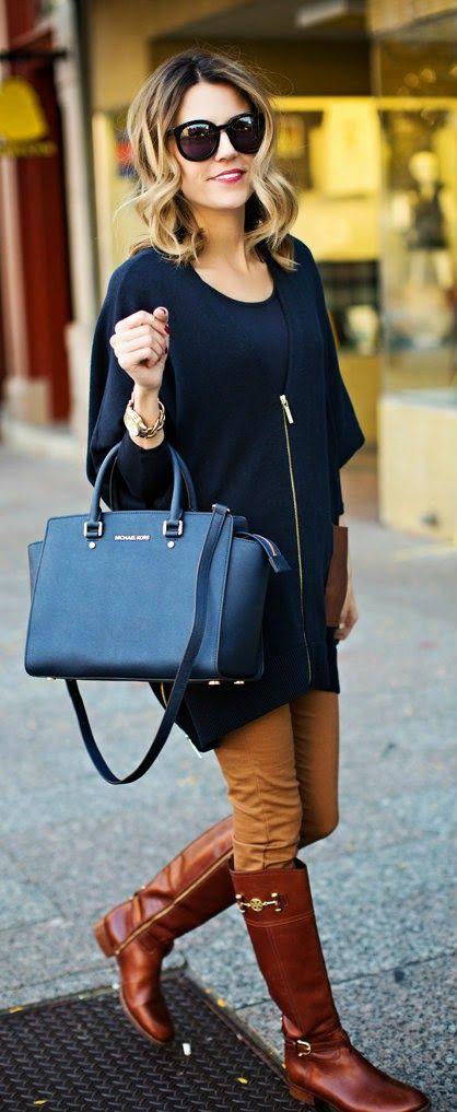 Cute Fall Outfit - Navy Top   khaki Leggings   Tory Burch Boots   Michael Kors Handbag - Hello Fashion