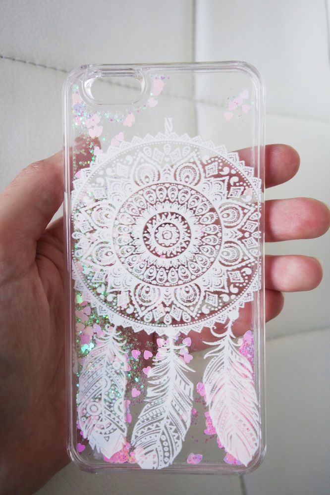 iPhone 6 6s case - mandala dreamcatcher design clear glitter liquid with hipster pink aurora borealis heart and glitter iridescent geometric sequins floating in a waterfall quicksand liquid trendy phone case. US seller.