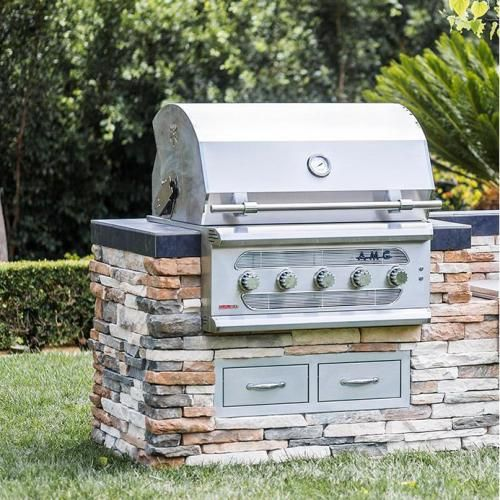 American Muscle Grill 36-Inch 5-Burner Built-In Dual Fuel Wood / Charcoal / Natural Gas Grill - AMG36-NG : BBQ Guys