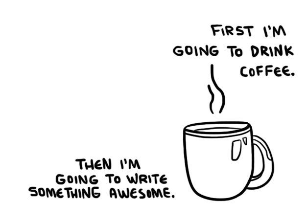 Image result for writing and drinking coffee cartoons