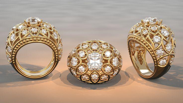 Bague fleur - diamant coussin