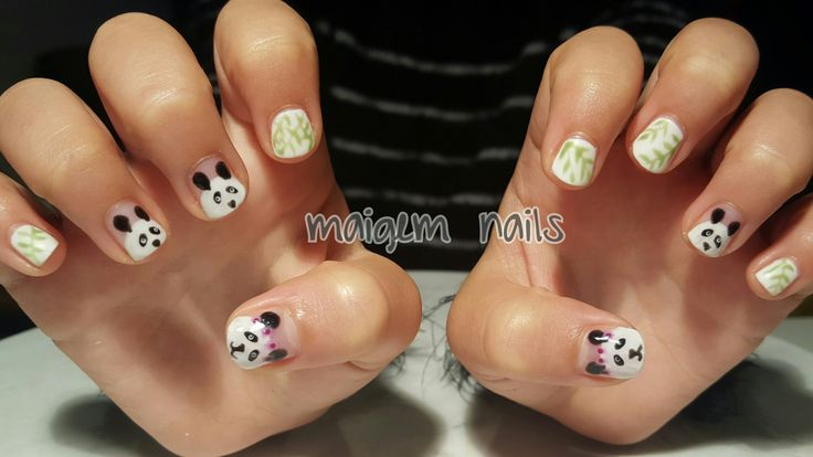 Panda Panda Panda Panda and matte bamboo #maigemnails