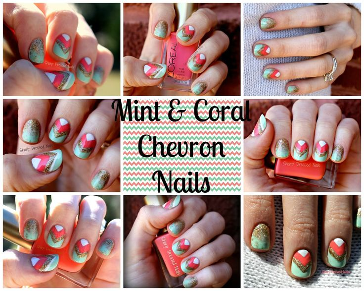 Sharp Dressed Nails: Mint & Coral Chevron Nails