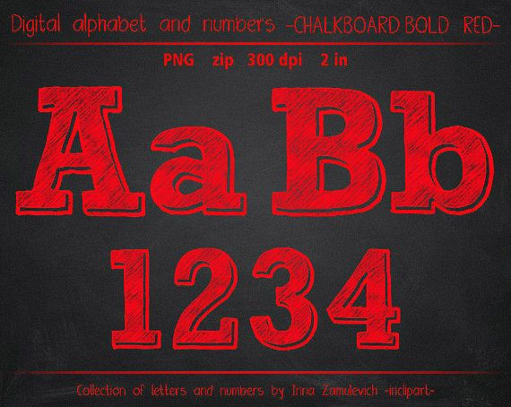 Red chalk Letters numbers& symbols clip art. by inclipart on Etsy