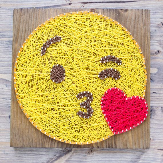 Modern and fun emoji wall art decoration in yellow valentines day gift Modern Emoji String Art Wall Decor yellow kiss emoji by GoodLights