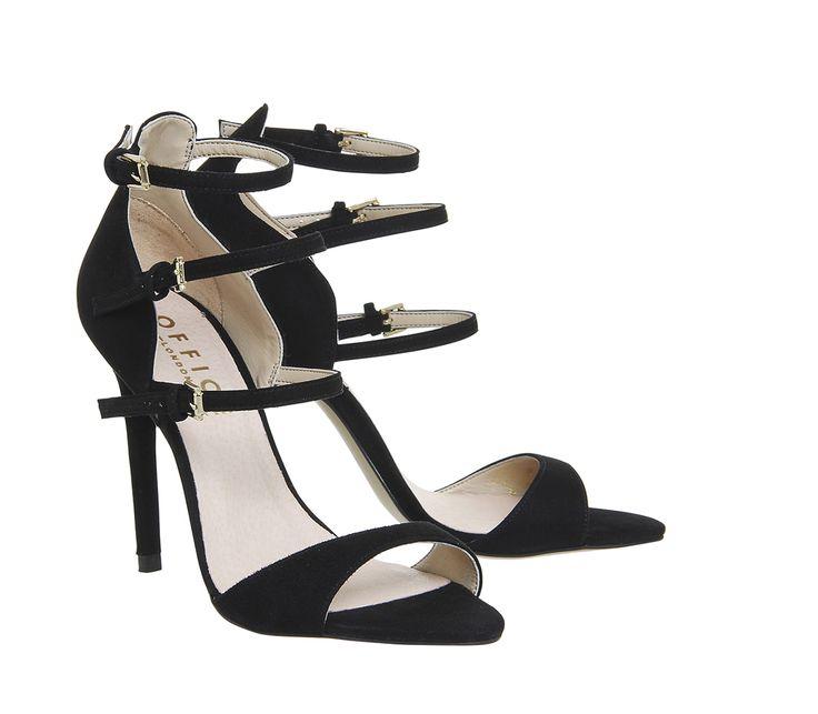 Office Annie 4 Strap Heels Black Suede - High Heels