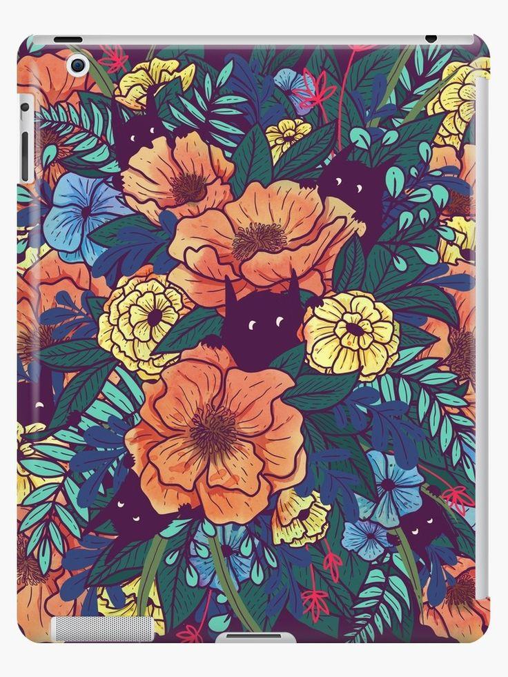 iPad-Hülle mit Blumen und kleinen Monstern | Illustration | floral | Blumenmuster | iPad | Dress Your Tech | bunt & farbenfroh | fantasievoll | Wild Flowers von littleclyde